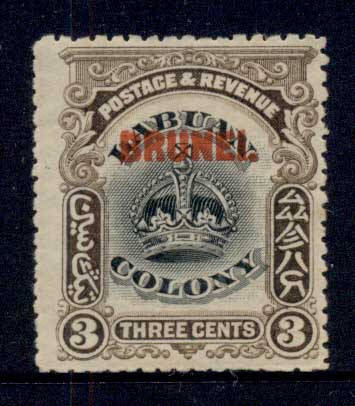 Brunei 1906 Opt on Labuan Crown 3c MLH