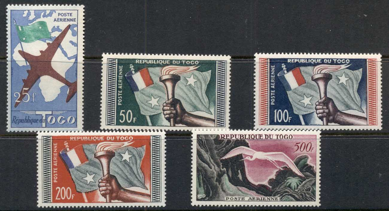 Togo 1960 Flag & Torch, Bird, Great White Erget reinscribed Airmails MUH