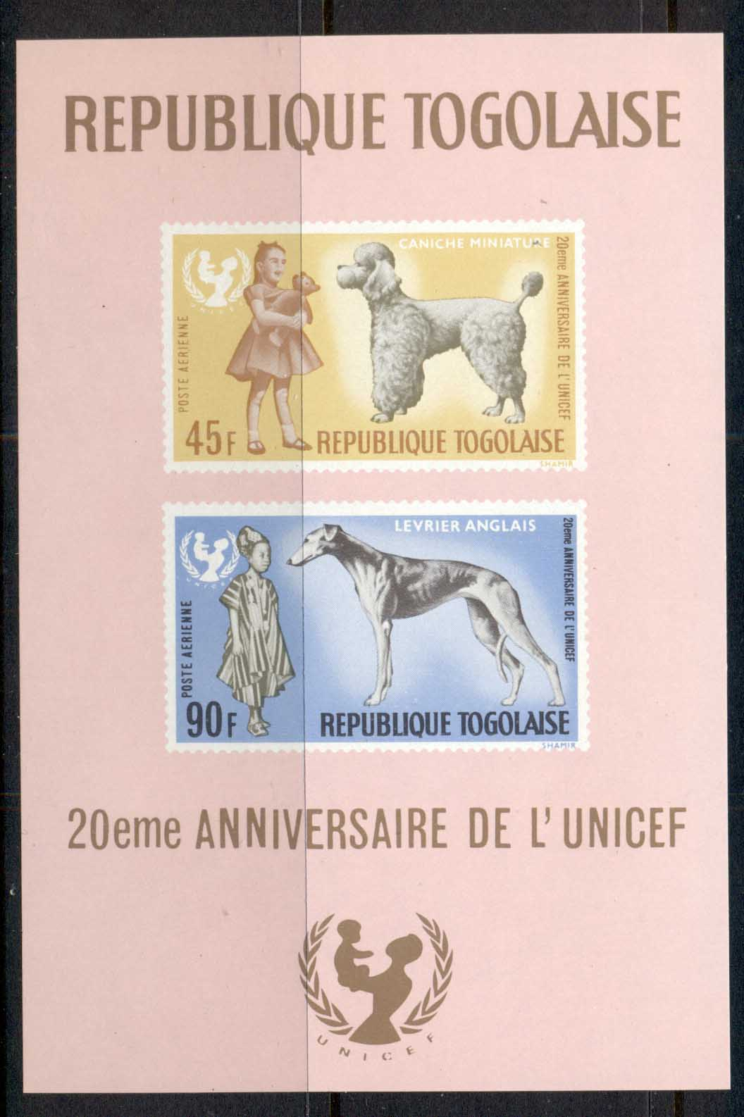 Togo 1967 UNICEF Dogs MS MUH