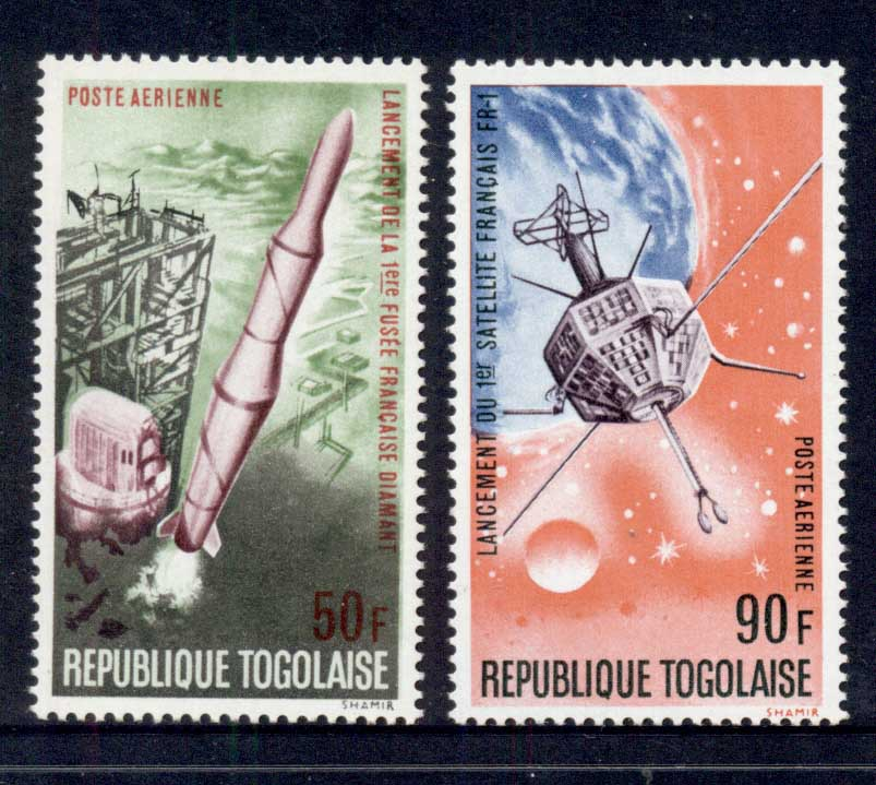 Togo 1967 Space Rocket, French Satellite Airmails MUH