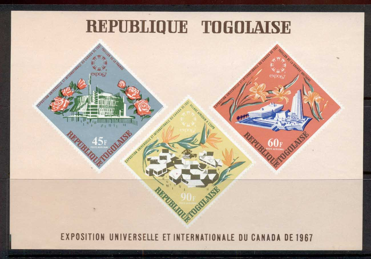 Togo 1967 Montreal Expo, Pavilions, Flowers MS MUH