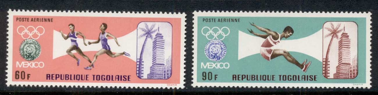 Togo 1967 Summer Pre-Olympics Mexico Airmails MUH