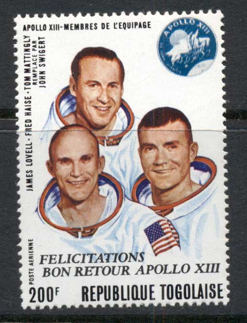 Togo 1970 Space, Apollo 13 Astronauts Opt Safe Return Airmail MUH
