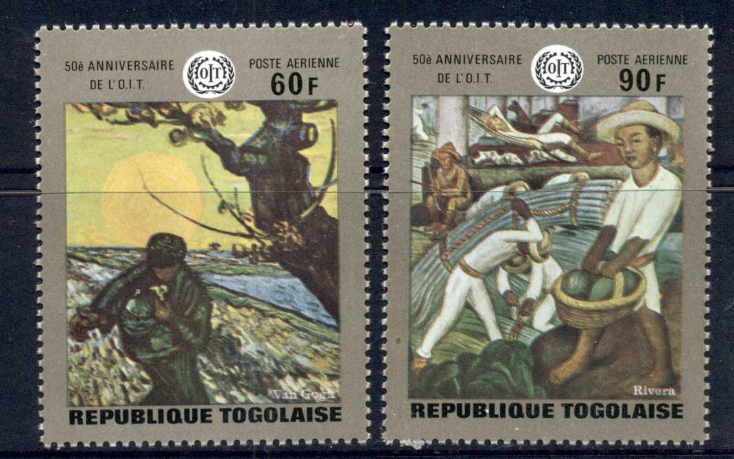 Togo 1970 ILO Paintings, Van Gogh, Rivera Airmails MUH