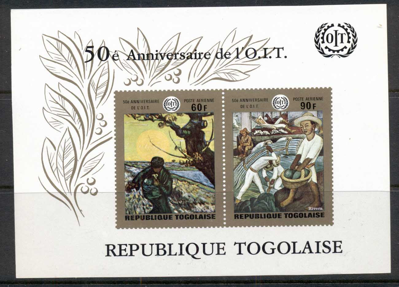 Togo 1970 ILO Paintings, Van Gogh, Rivera MS MUH