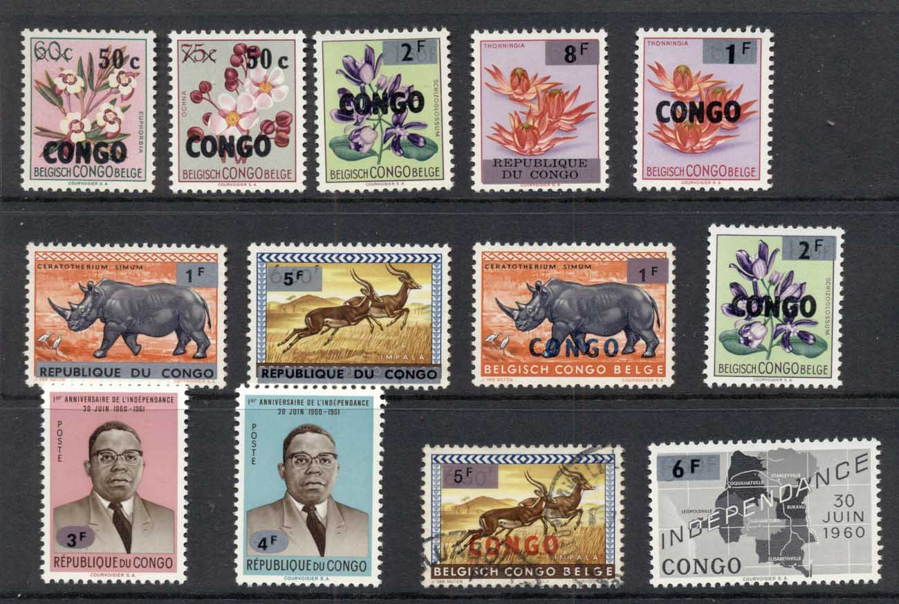 Congo DR 1963-64 Assorted Overprints & Surcharges MLH/FU
