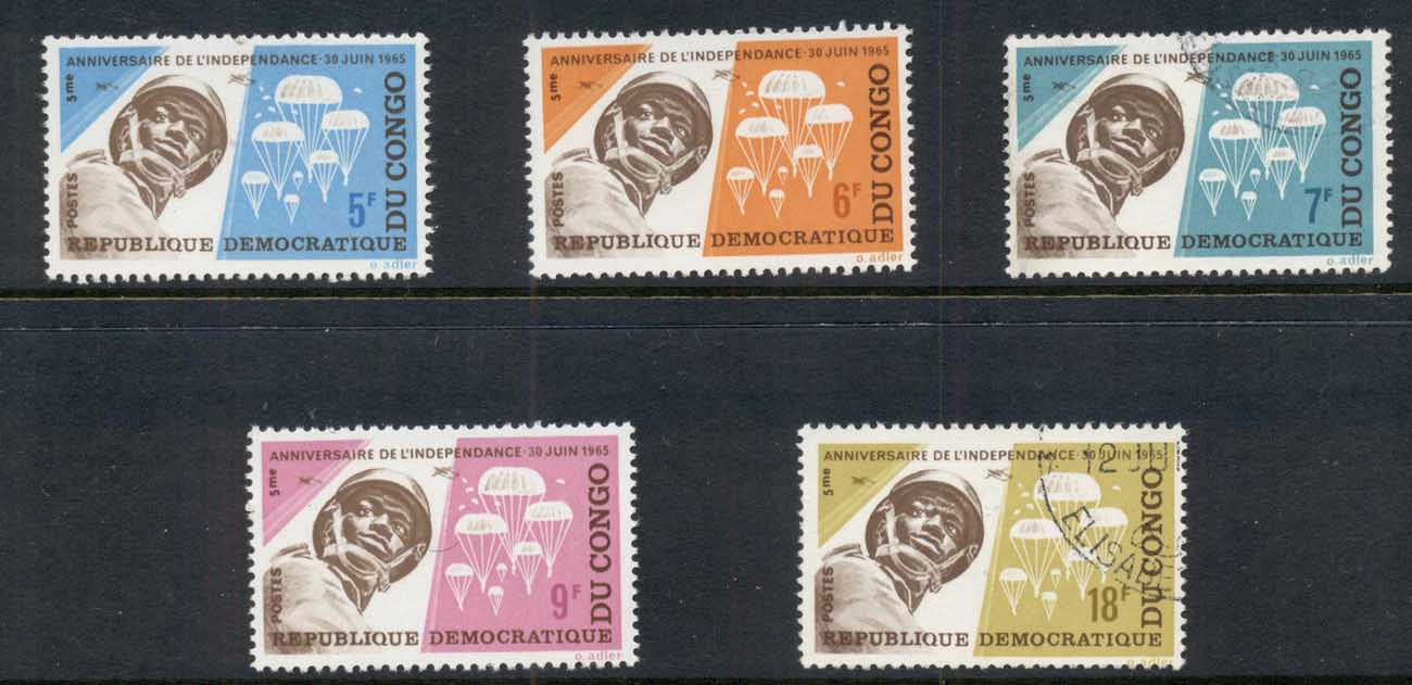 Congo DR 1965 Independence 5th Anniv. Paratroopers FU/MLH