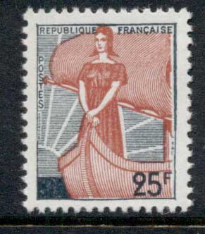 France 1959 marianne & Ship of State surch MUH