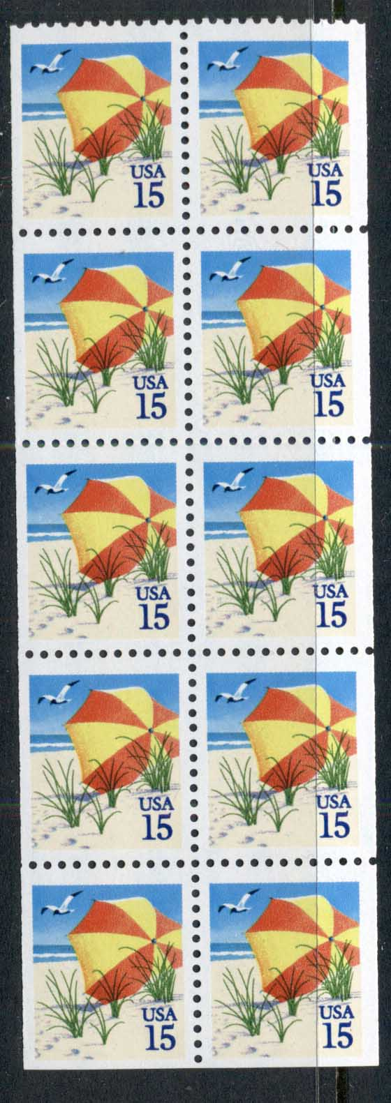 USA 1990 Sc#2443 Beach Umbrella Booklet pane MUH
