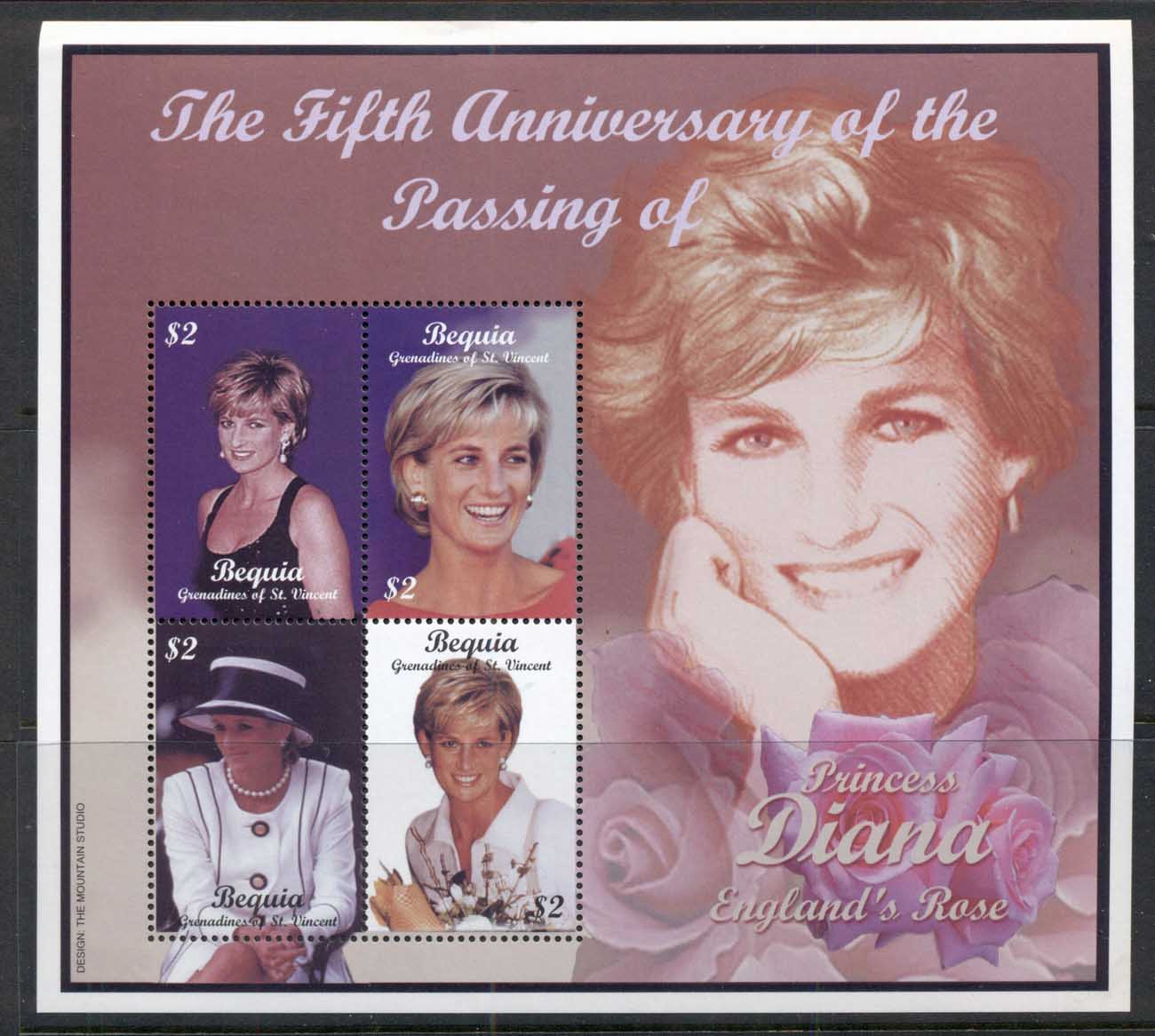 St Vincent Bequia 2002 Princess Diana in Memoriam 5th Anniv. MS MUH