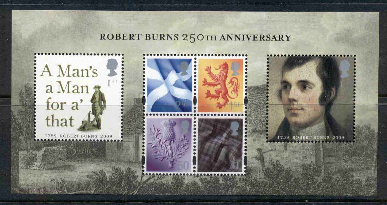 GB 2009 Robert Burns 250th Anniv. MS MUH