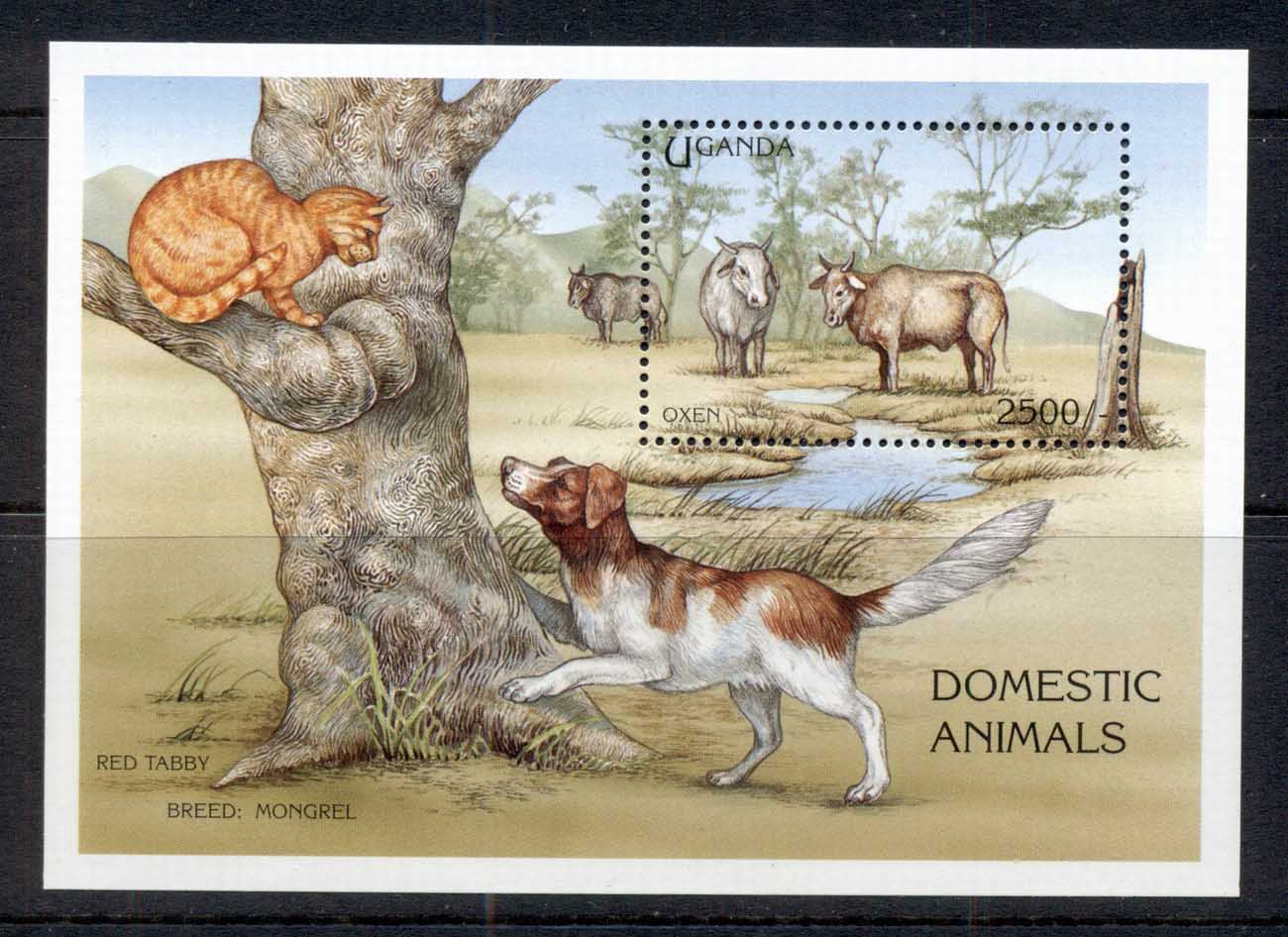 Uganda 1995 Domestic Animals, Cats & Dogs, Oxen MS MUH