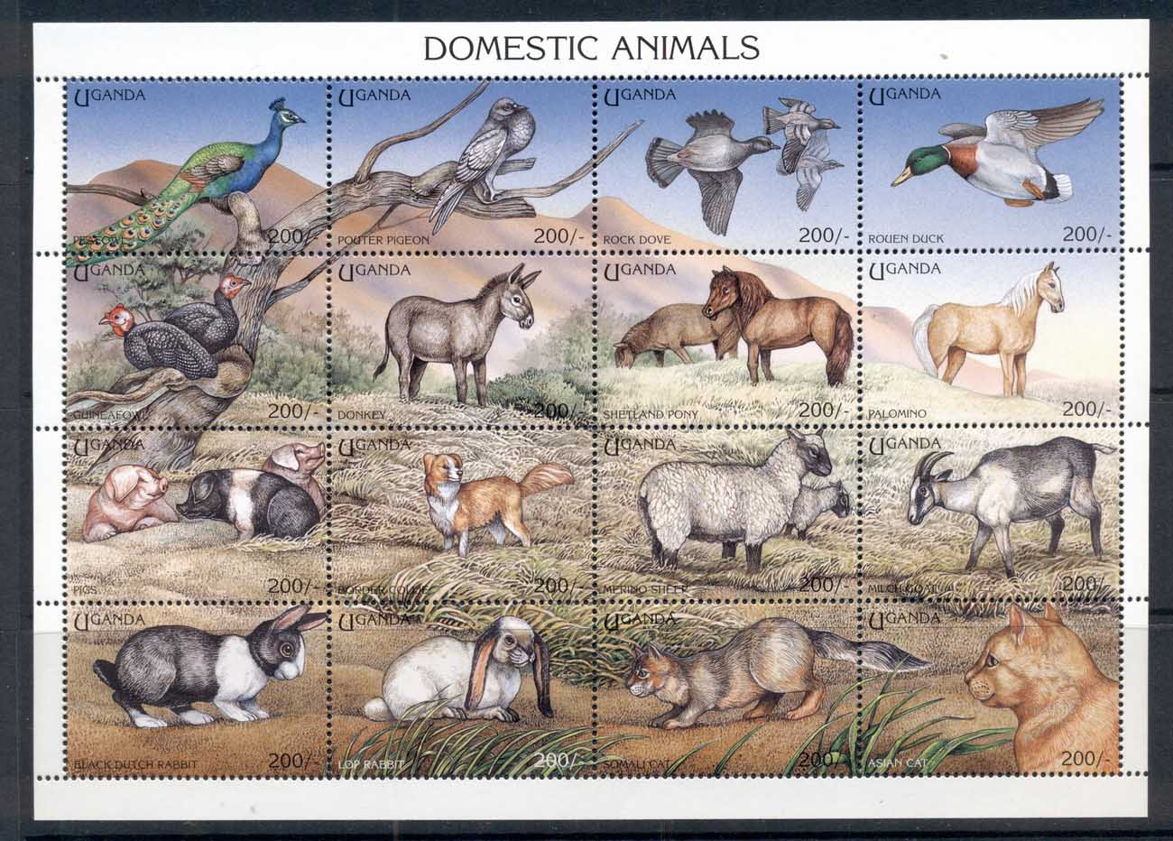 Uganda 1995 Domestic Animals, Cats & Dogs, Birds MS MUH