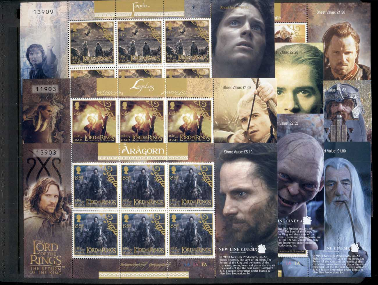 Isle of Man 2003 Lord of the Rings, LOTR , Return of the King 8xsheetlets MUH