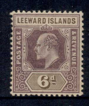 Leeward Is 1905-11 KEVII Keyplate 6d violet & brown MLH