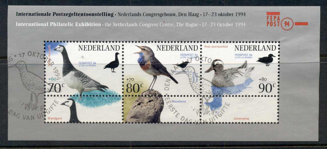 Netherlands 1994 Welfare, Birds MS FU