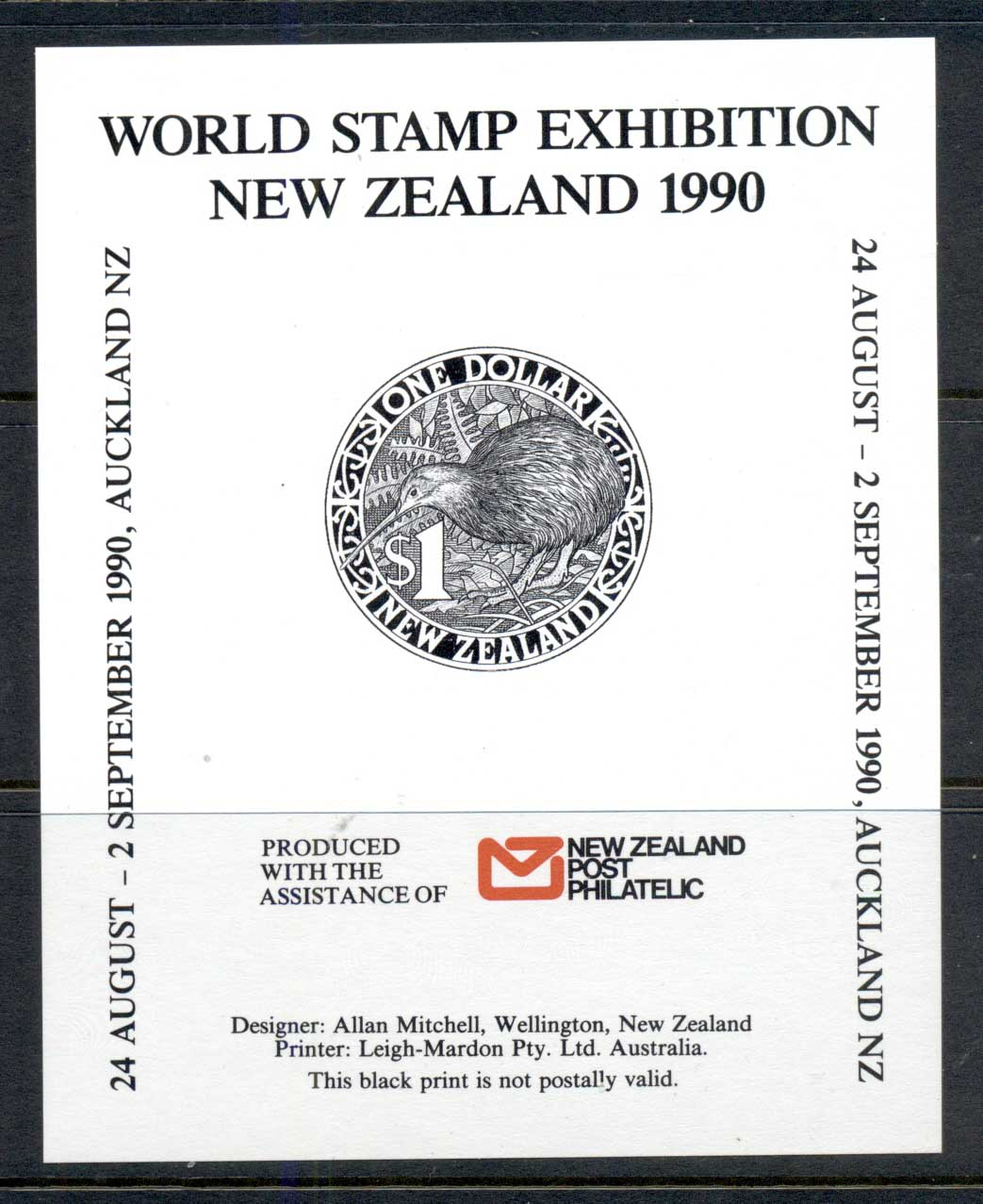 New Zealand 1990 World Stamp Ex Kiwi MS MUH