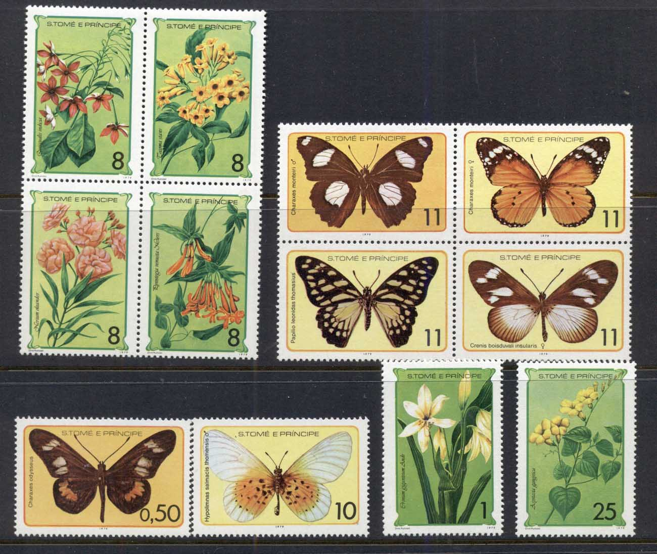 Sao Tome et Principe 1979 Insects, Flowers Butterflies MUH