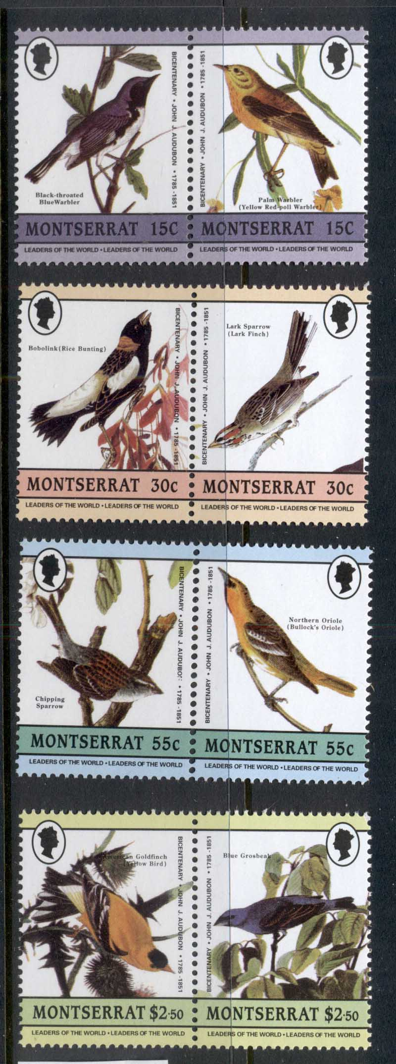 Montserrat 1985 LOW Audubon Birds MUH REPRODUCTIONS Forgeries