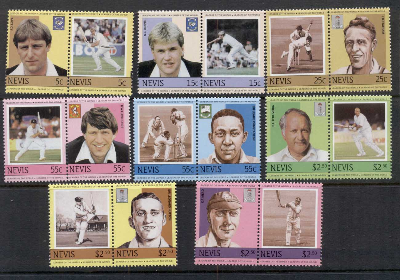 Nevis 1984 LOW Cricket Players & team Emblems MUH REPRODUCTIONS (Forgeries)