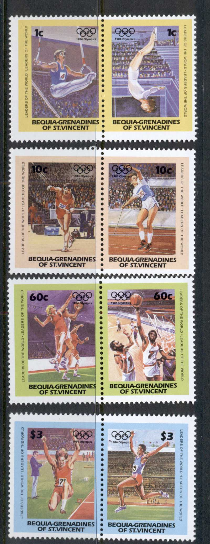 St Vincent Bequia 1984 LOW Summer Olympics MUH REPRODUCTIONS Forgeries