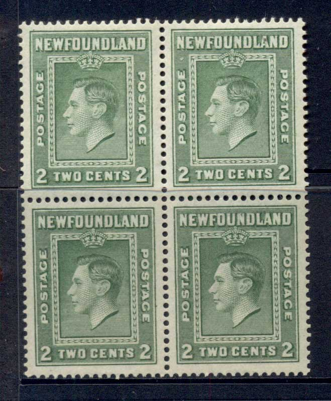 Newfoundland 1938 Royal Family 2c (toned gum) Blk4 MLH