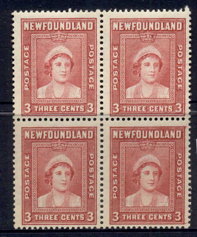 Newfoundland 1938 Royal Family 3c (toned gum) Blk4 MLH