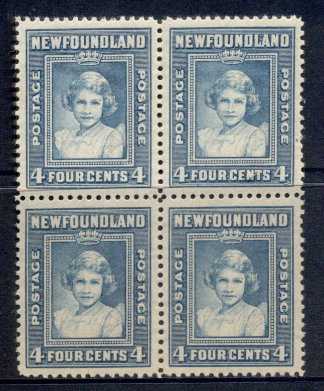 Newfoundland 1938 Royal Family 4c (toned gum) Blk4 MLH
