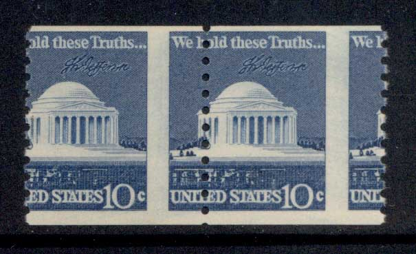 USA 1973-74 Sc#1520 Jefferson Memorial coil pr MISPERF MUH