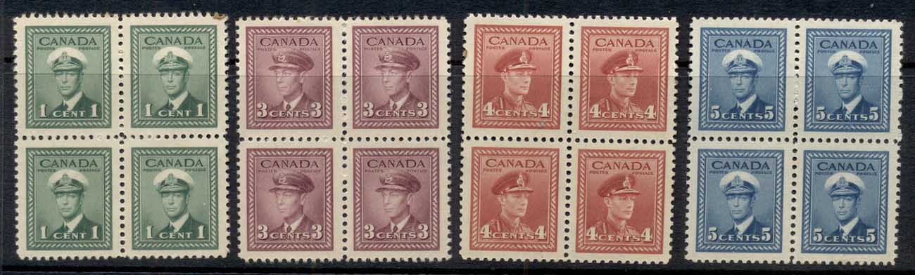 Canada 1942-43 KGVI 1,3,4,5c (faults) blk4 MLH/MUH