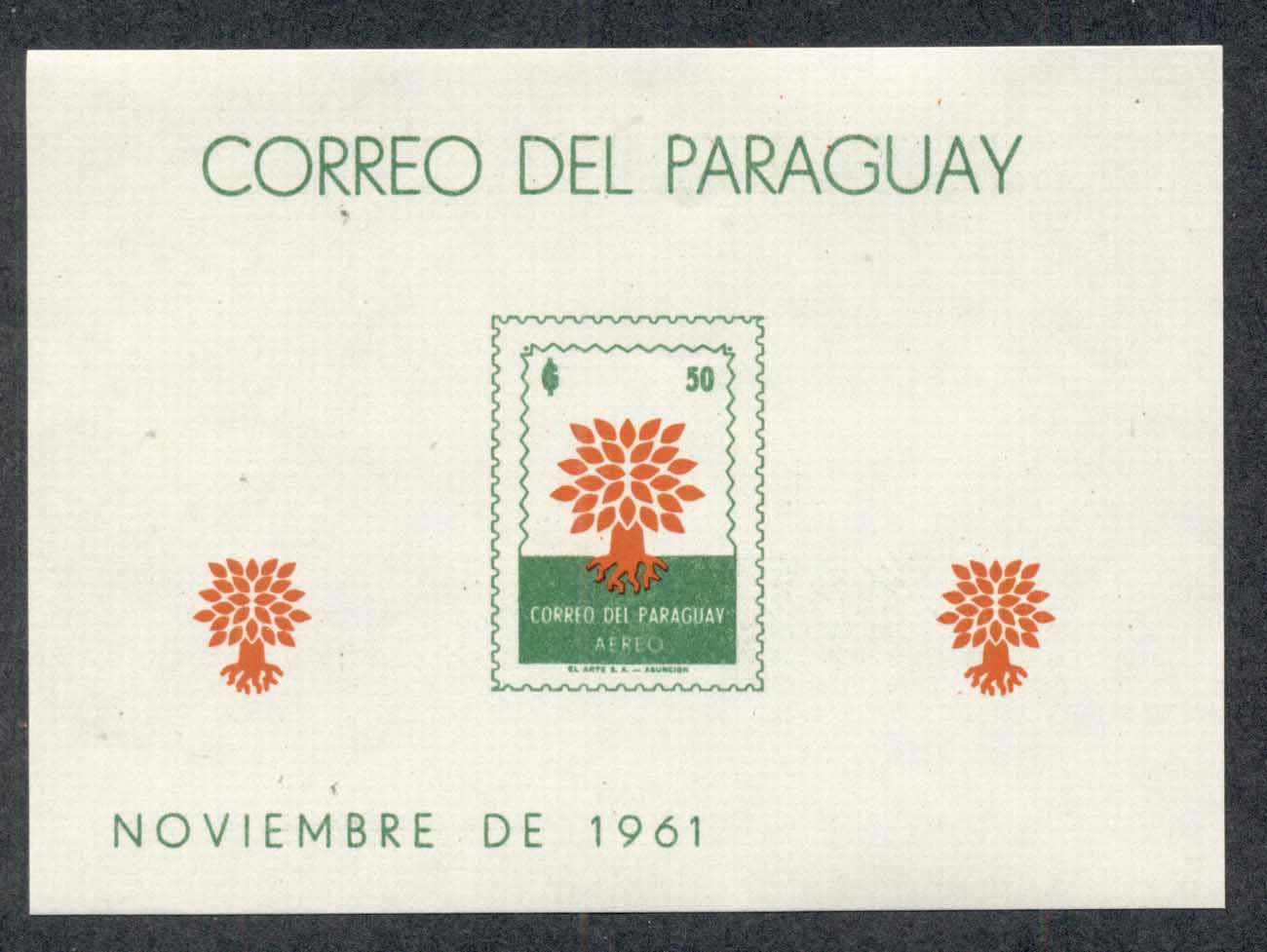 Paraguay 1961 World Refugee Year MS MUH