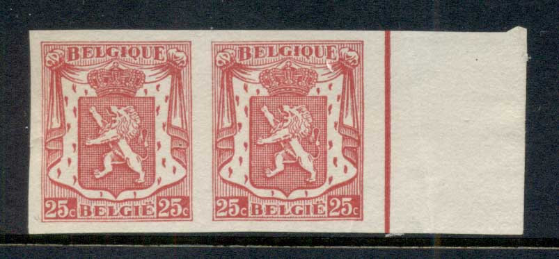 Belgium 1935-45 Coat of Arme 25c IMPERF pr MUH