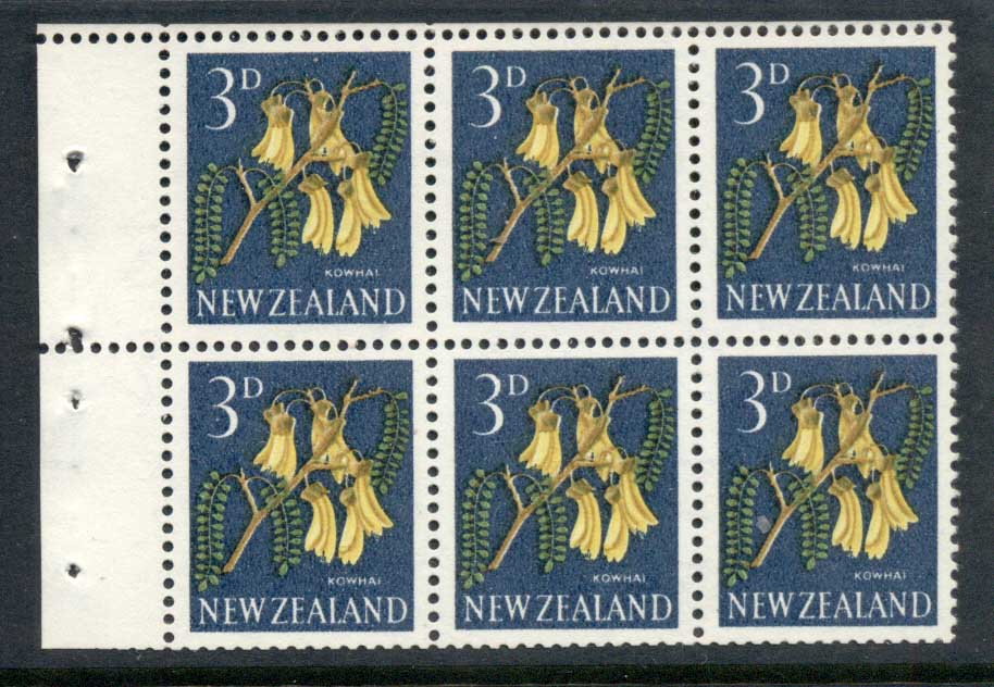 New Zealand 1960-66 3d Kowhai Flower booklet pane MUH
