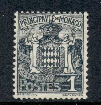 Monaco 1924-33 Coat of Arms 1c MUH