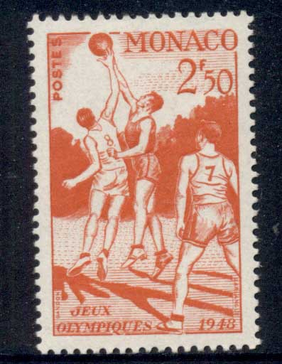 Monaco 1948 Summer Olympics, Wembley 2.50f basketball MUH