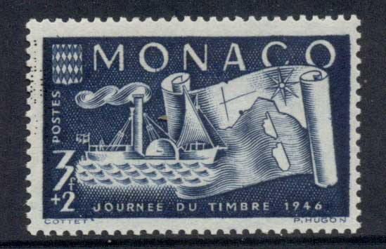 Monaco 1946 Stamp day, Map & Ship MUH