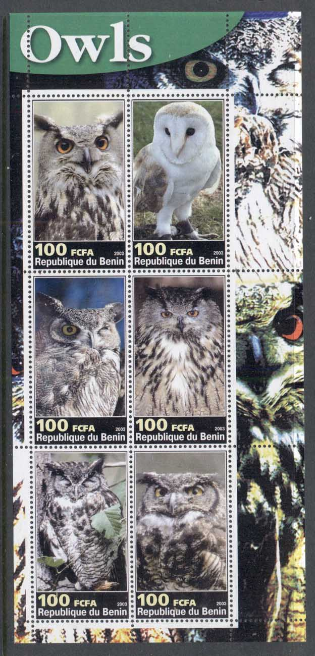 Benin 2003 Birds, Owls MS MUH