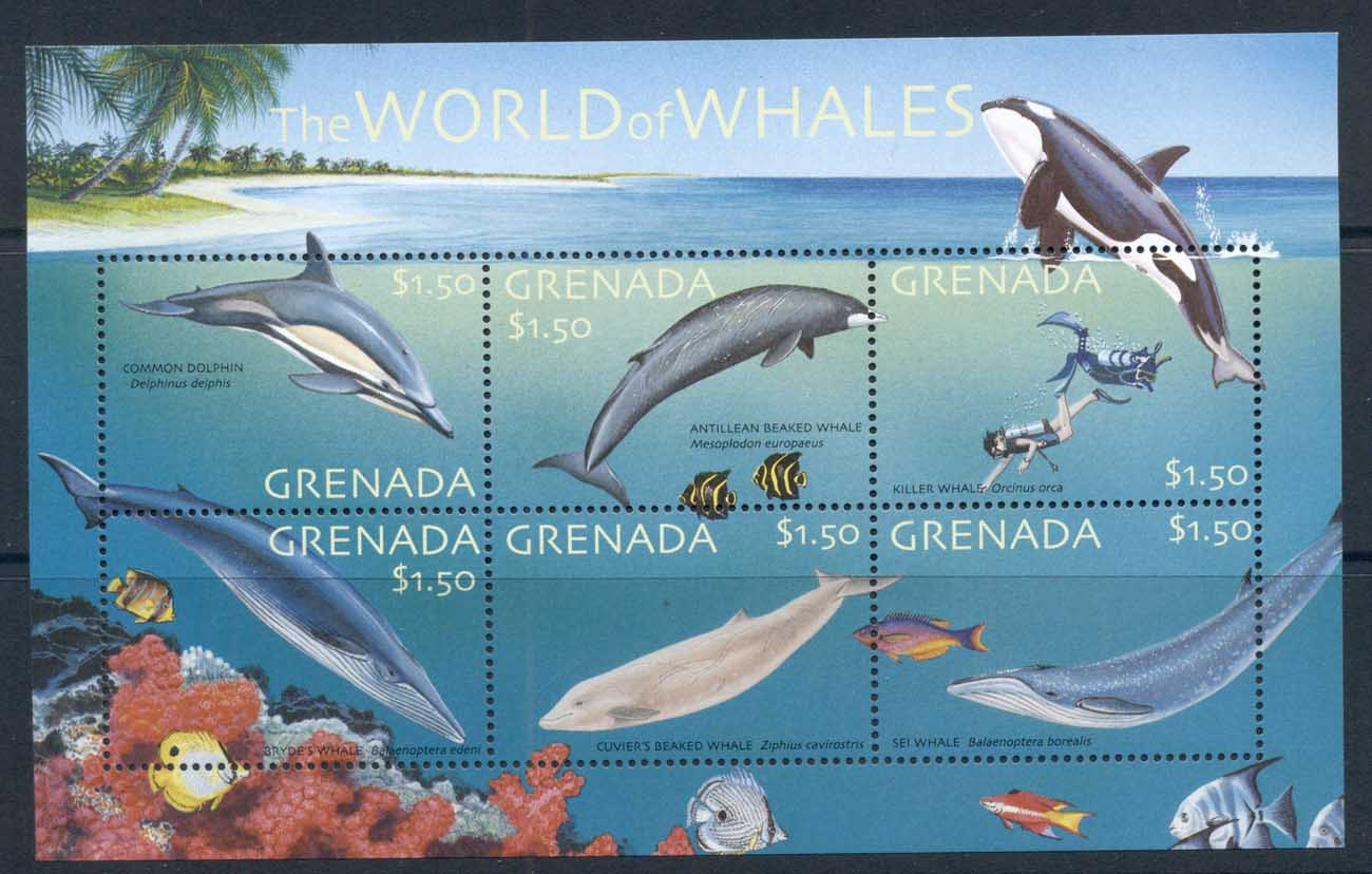 Grenada 2001 Marine Life, World of Whales sheetlet MS MUH