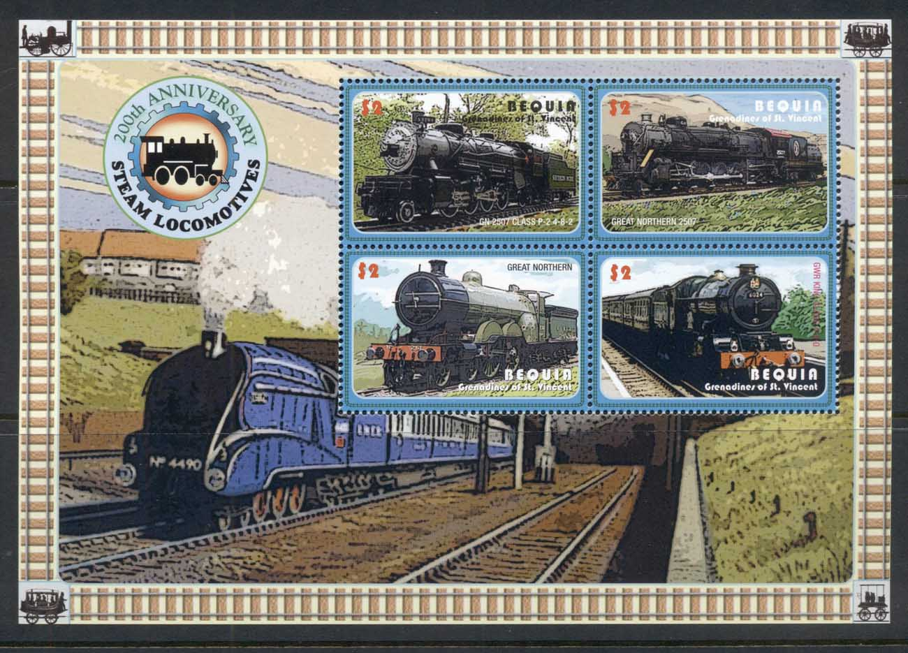 St Vincent Bequia 2010c. Trains 200th Anniv. Steam Locomotives sheetlet MUH