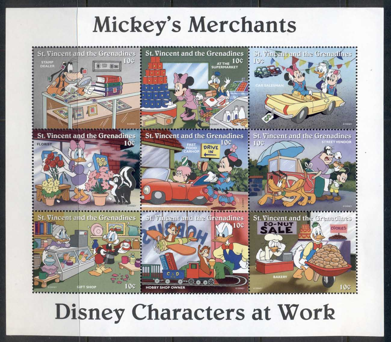 St Vincent 1996 Disney Characters, Mickey's Merchants sheetlet MUH