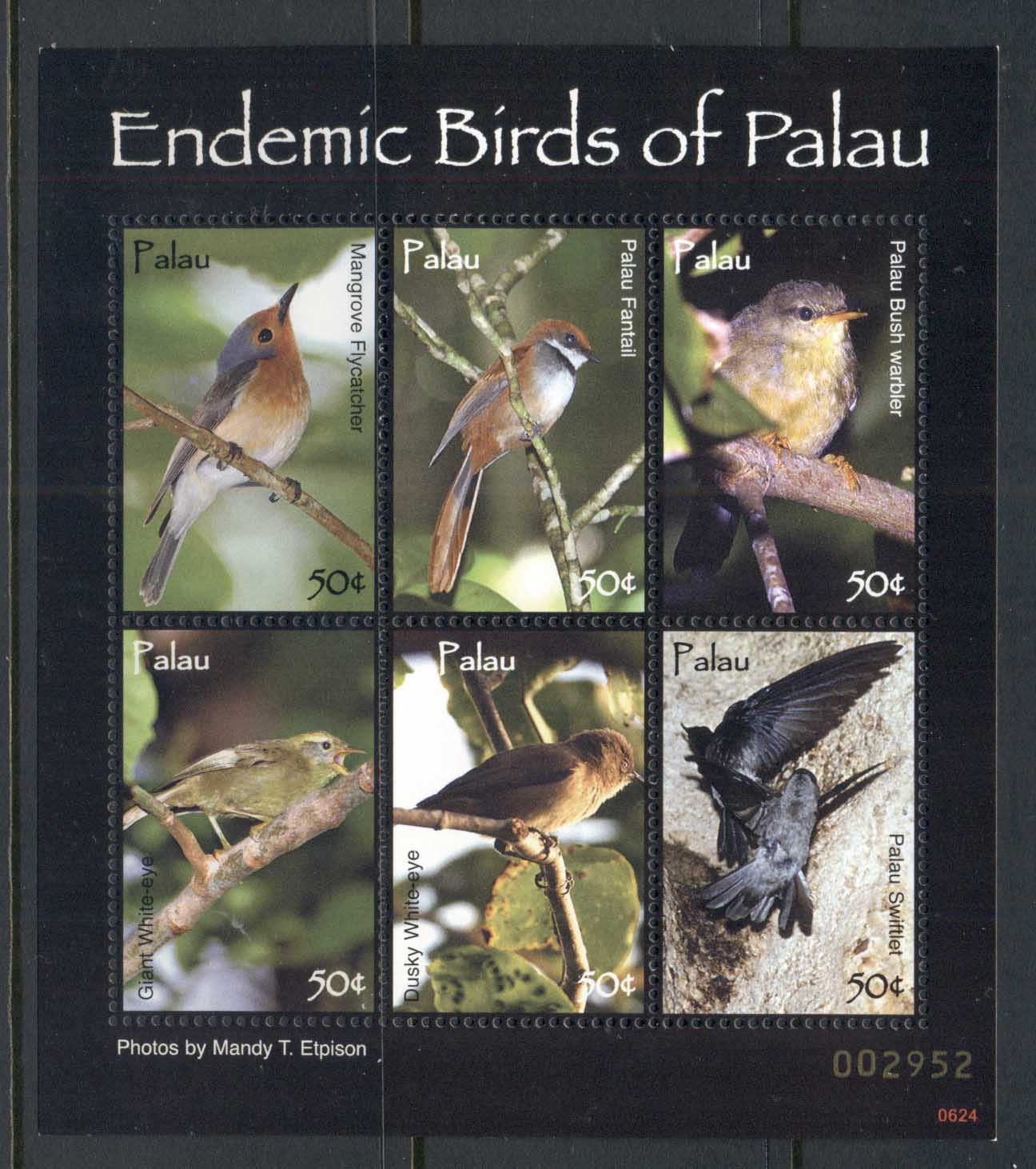 Palau 2007 Endemic Birds of Palau MS MUH
