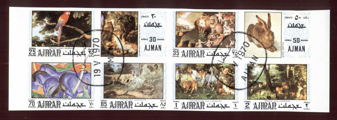 Ajman 1971 Amimal Paintings IMPERF blk8 CTO