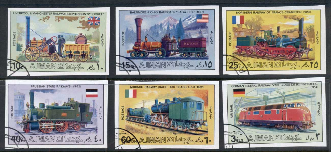 Ajman 1971 Old Locomotives, Trains IMPERF CTO