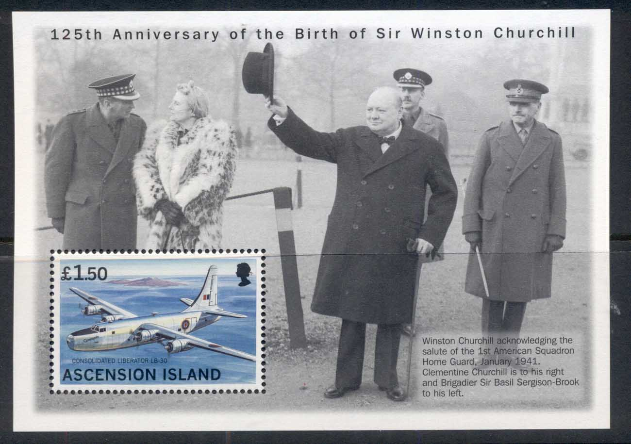 Ascension Is 1999 Winston Churchill 125th Anniv. MS MUH