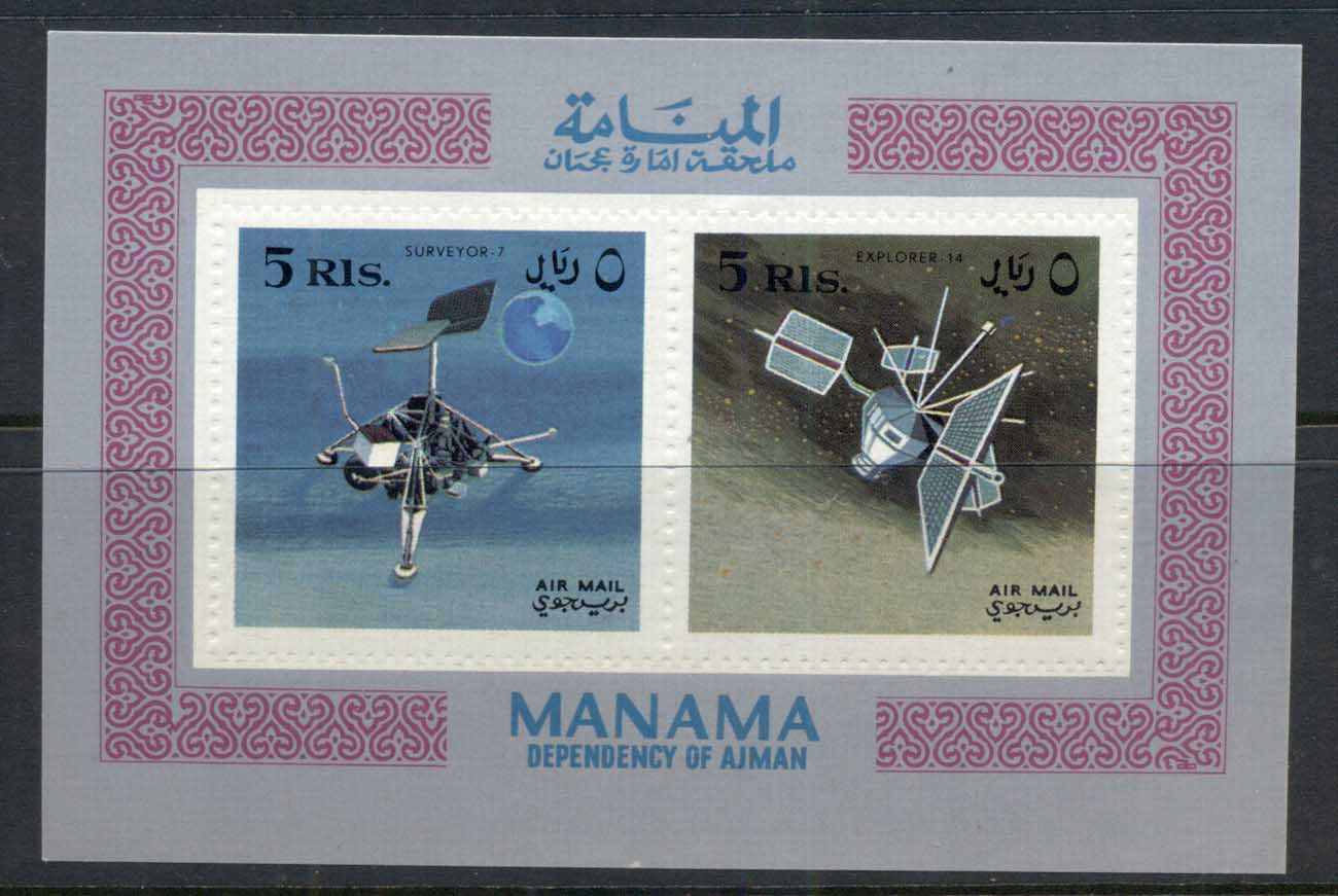 Manama 1968 Space Research, Space probes Embossed Perf MS MUH
