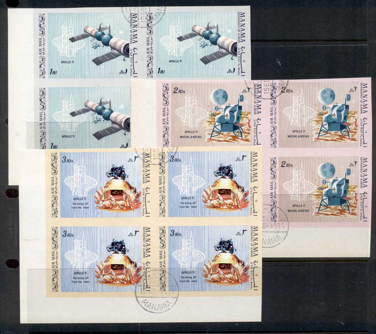 Ajman 1969 Mi#466-468 First Manned Landing on the Moon (II) IMPERF blk4 CTO