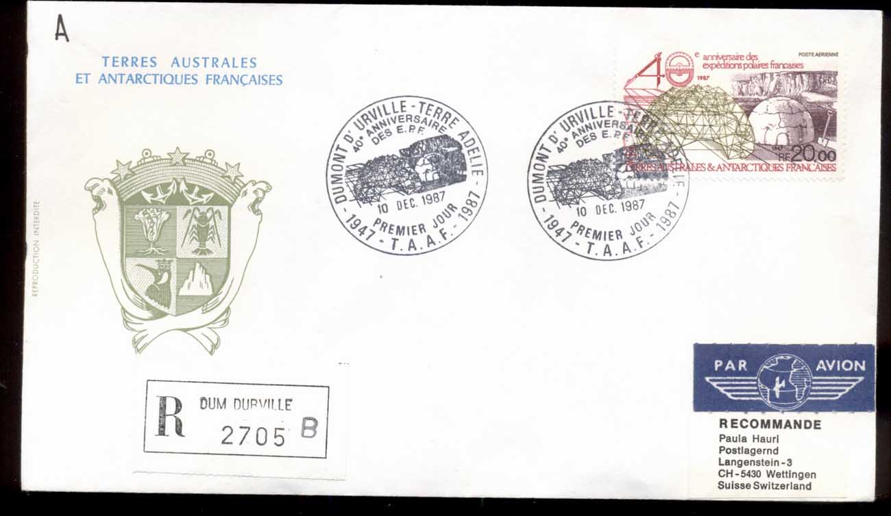 French Antarctic Territory 1987 French Polar Expeditions FDC