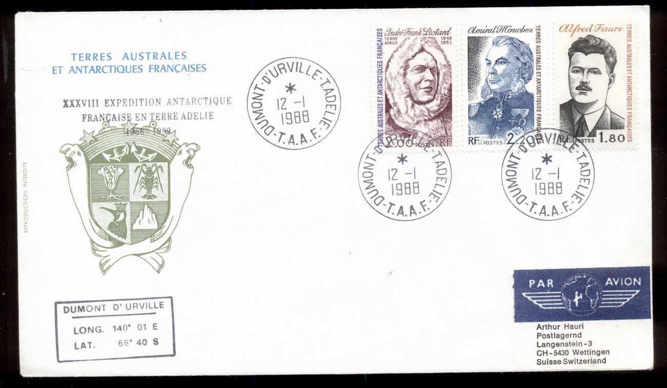 French Antarctic Territory 1988 38th Antarctic Expedition, Explorers cover
