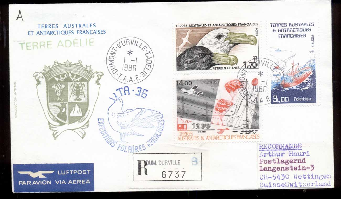 French Antarctic Territory 1986 French Polar Expeddition, Bird, Ship, Plane Cover