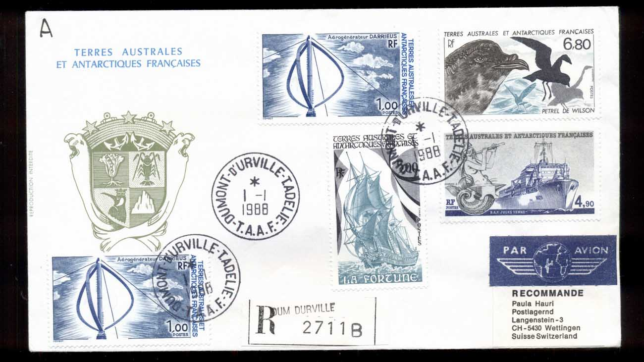French Antarctic Territory 1988 Wind Turbine, Bird, Ship, Plane Cover